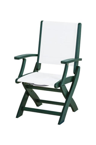 Polywood 9000-GR901 Coastal Folding Chair in Green / White Sling - PolyFurnitureStore