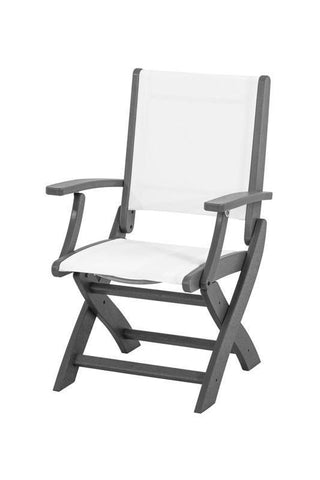 Polywood 9000-GY901 Coastal Folding Chair in Slate Grey / White Sling - PolyFurnitureStore
