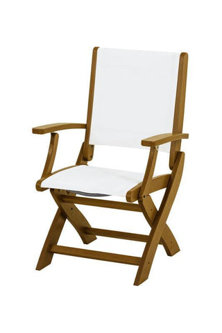 Polywood 9000-TE901 Coastal Folding Chair in Teak / White Sling - PolyFurnitureStore