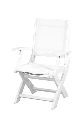 Polywood 9000-WH901 Coastal Folding Chair in White / White Sling - PolyFurnitureStore
