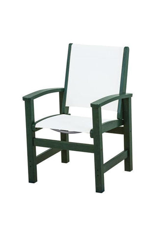 Polywood 9010-GR901 Coastal Dining Chair in Green / White Sling - PolyFurnitureStore