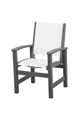 Polywood 9010-GY901 Coastal Dining Chair in Slate Grey / White Sling - PolyFurnitureStore
