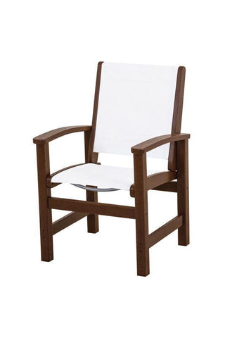 Polywood 9010-MA901 Coastal Dining Chair in Mahogany / White Sling - PolyFurnitureStore