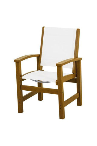 Polywood 9010-TE901 Coastal Dining Chair in Teak / White Sling - PolyFurnitureStore