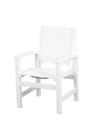Polywood 9010-WH901 Coastal Dining Chair in White / White Sling - PolyFurnitureStore