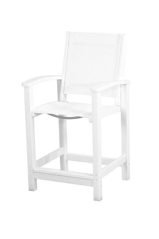 Polywood 9011-WH901 Coastal Counter Chair in White / White Sling - PolyFurnitureStore