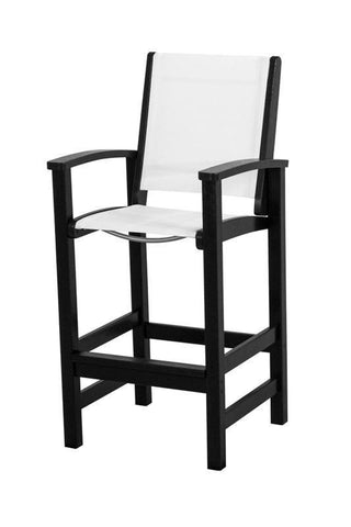 Polywood 9012-BL901 Coastal Bar Chair in Black / White Sling - PolyFurnitureStore