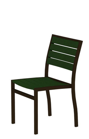 Polywood A100-16GR Euro Dining Side Chair in Textured Bronze Aluminum Frame / Green - PolyFurnitureStore