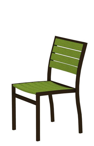 Polywood A100-16LI Euro Dining Side Chair in Textured Bronze Aluminum Frame / Lime - PolyFurnitureStore