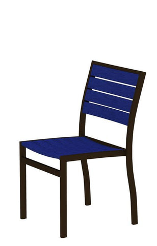 Polywood A100-16PB Euro Dining Side Chair in Textured Bronze Aluminum Frame / Pacific Blue - PolyFurnitureStore