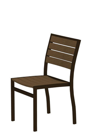 Polywood A100-16TE Euro Dining Side Chair in Textured Bronze Aluminum Frame / Teak - PolyFurnitureStore