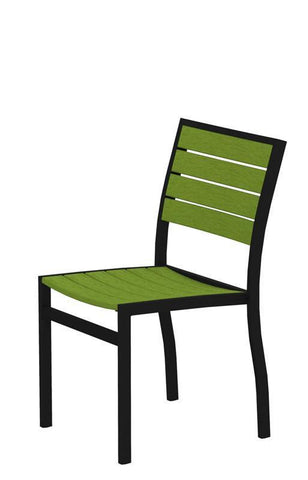 Polywood A100FABLI Euro Dining Side Chair in Textured Black Aluminum Frame / Lime - PolyFurnitureStore