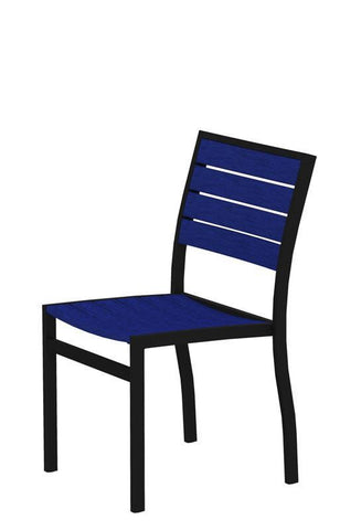 Polywood A100FABPB Euro Dining Side Chair in Textured Black Aluminum Frame / Pacific Blue - PolyFurnitureStore