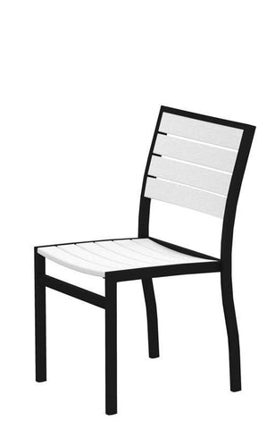Polywood A100FABWH Euro Dining Side Chair in Textured Black Aluminum Frame / White - PolyFurnitureStore