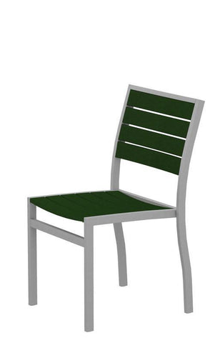Polywood A100FASGR Euro Dining Side Chair in Textured Silver Aluminum Frame / Green - PolyFurnitureStore