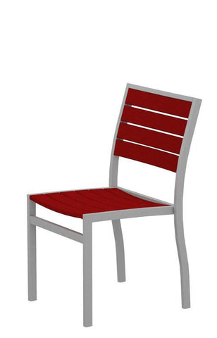 Polywood A100FASSR Euro Dining Side Chair in Textured Silver Aluminum Frame / Sunset Red - PolyFurnitureStore