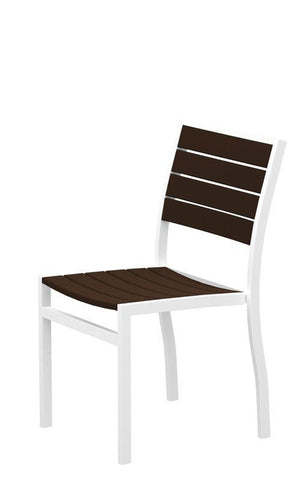 Polywood A100FAWMA Euro Dining Side Chair in Gloss White Aluminum Frame / Mahogany - PolyFurnitureStore