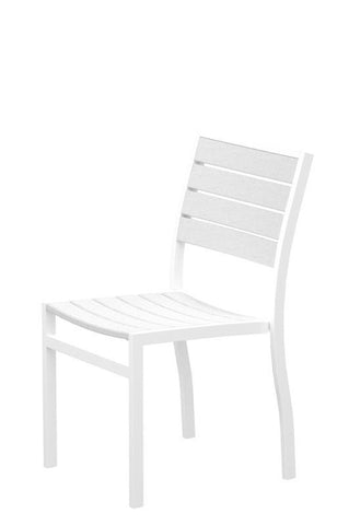 Polywood A100FAWWH Euro Dining Side Chair in Gloss White Aluminum Frame / White - PolyFurnitureStore