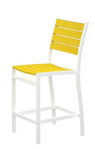 Polywood A101-13LE Euro Counter Side Chair in Textured White Aluminum Frame / Lemon - PolyFurnitureStore