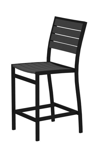 Polywood A101FABGY Euro Counter Side Chair in Textured Black Aluminum Frame / Slate Grey - PolyFurnitureStore