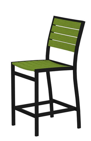 Polywood A101FABLI Euro Counter Side Chair in Textured Black Aluminum Frame / Lime - PolyFurnitureStore