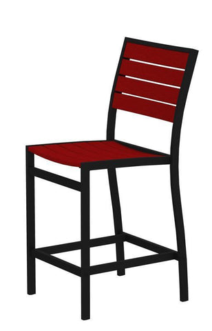 Polywood A101FABSR Euro Counter Side Chair in Textured Black Aluminum Frame / Sunset Red - PolyFurnitureStore