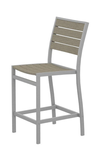 Polywood A101FASSA Euro Counter Side Chair in Textured Silver Aluminum Frame / Sand - PolyFurnitureStore
