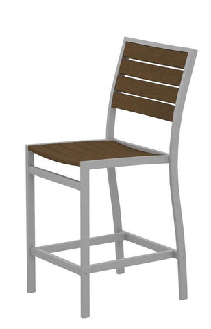 Polywood A101FASTE Euro Counter Side Chair in Textured Silver Aluminum Frame / Teak - PolyFurnitureStore