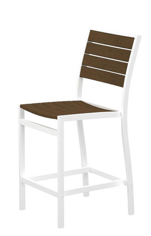 Polywood A101FAWTE Euro Counter Side Chair in Gloss White Aluminum Frame / Teak - PolyFurnitureStore