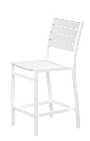 Polywood A101FAWWH Euro Counter Side Chair in Gloss White Aluminum Frame / White - PolyFurnitureStore