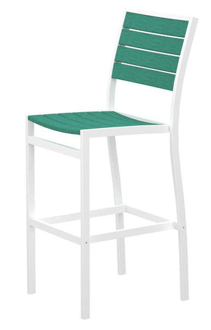 Polywood A102-13AR Euro Bar Side Chair in Textured White Aluminum Frame / Aruba - PolyFurnitureStore