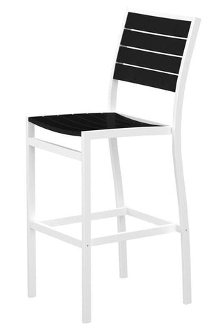 Polywood A102-13BL Euro Bar Side Chair in Textured White Aluminum Frame / Black - PolyFurnitureStore