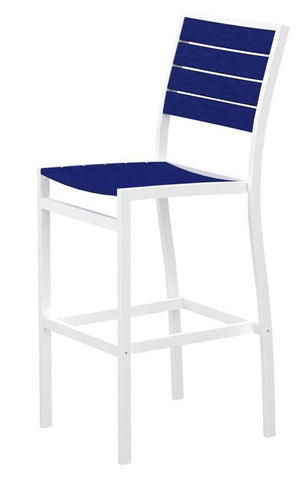Polywood A102-13PB Euro Bar Side Chair in Textured White Aluminum Frame / Pacific Blue - PolyFurnitureStore