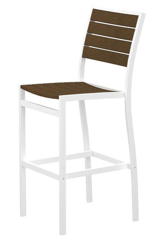 Polywood A102-13TE Euro Bar Side Chair in Textured White Aluminum Frame / Teak - PolyFurnitureStore