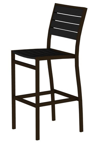 Polywood A102-16BL Euro Bar Side Chair in Textured Bronze Aluminum Frame / Black - PolyFurnitureStore