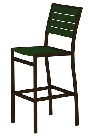 Polywood A102-16GR Euro Bar Side Chair in Textured Bronze Aluminum Frame / Green - PolyFurnitureStore