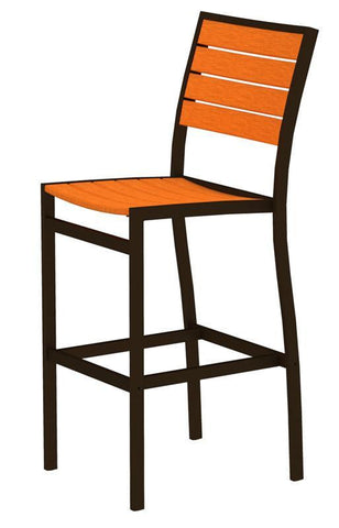 Polywood A102-16TA Euro Bar Side Chair in Textured Bronze Aluminum Frame / Tangerine - PolyFurnitureStore