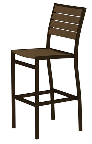 Polywood A102-16TE Euro Bar Side Chair in Textured Bronze Aluminum Frame / Teak - PolyFurnitureStore