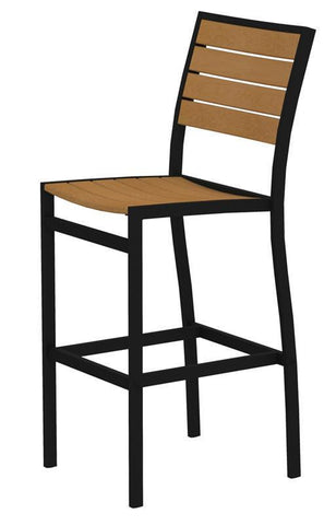 Polywood A102FABNT Euro Bar Side Chair in Textured Black Aluminum Frame / Plastique - PolyFurnitureStore