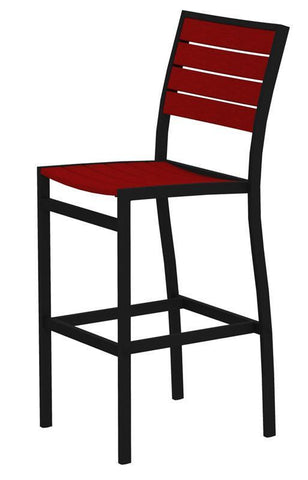 Polywood A102FABSR Euro Bar Side Chair in Textured Black Aluminum Frame / Sunset Red - PolyFurnitureStore