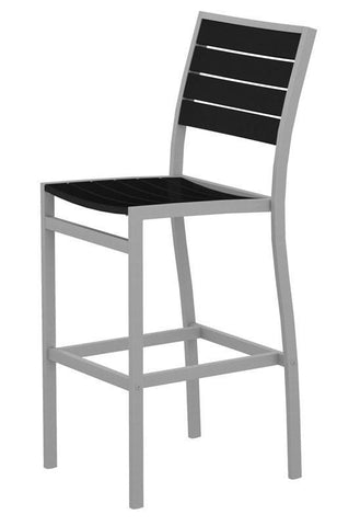 Polywood A102FASBL Euro Bar Side Chair in Textured Silver Aluminum Frame / Black - PolyFurnitureStore