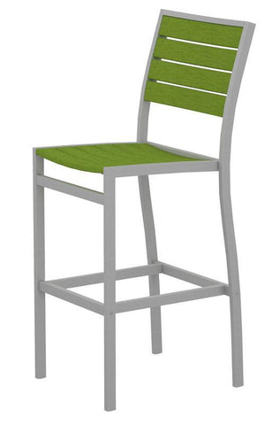 Polywood A102FASLI Euro Bar Side Chair in Textured Silver Aluminum Frame / Lime - PolyFurnitureStore