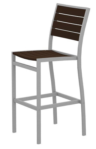 Polywood A102FASMA Euro Bar Side Chair in Textured Silver Aluminum Frame / Mahogany - PolyFurnitureStore