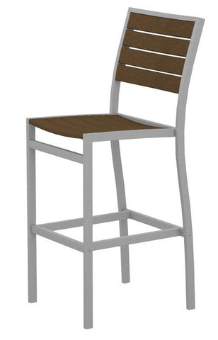 Polywood A102FASTE Euro Bar Side Chair in Textured Silver Aluminum Frame / Teak - PolyFurnitureStore