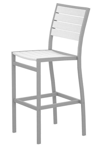 Polywood A102FASWH Euro Bar Side Chair in Textured Silver Aluminum Frame / White - PolyFurnitureStore