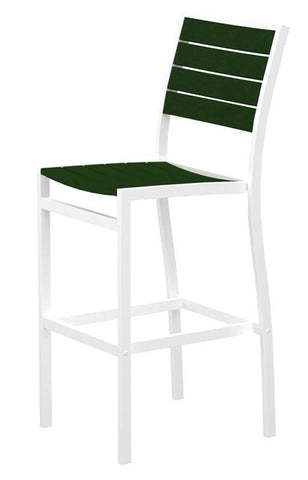 Polywood A102FAWGR Euro Bar Side Chair in Gloss White Aluminum Frame / Green - PolyFurnitureStore