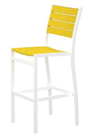 Polywood A102FAWLE Euro Bar Side Chair in Gloss White Aluminum Frame / Lemon - PolyFurnitureStore