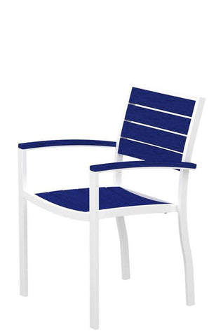 Polywood A200-13PB Euro Dining Arm Chair in Textured White Aluminum Frame / Pacific Blue - PolyFurnitureStore