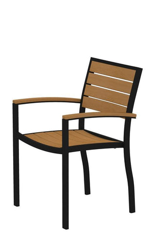 Polywood A200FABNT Euro Dining Arm Chair in Textured Black Aluminum Frame / Plastique - PolyFurnitureStore