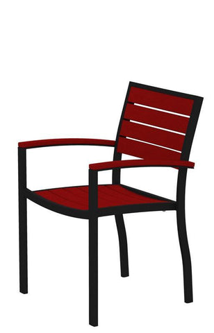 Polywood A200FABSR Euro Dining Arm Chair in Textured Black Aluminum Frame / Sunset Red - PolyFurnitureStore